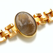 Spectacular 18k Yellow And Rose Gold Intaglio Agate Cameo Bracelet Ca1910