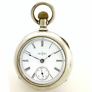 Antique Illinois Pocket Watch Ca1890   7 Jewel 18 Size In 4 Oz Coin Silver Case