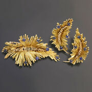14k Yellow And Rose Gold Blue Sapphire Leaf Spray Earrings And Brooch Set
