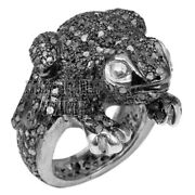 Vintage 2.88cts Natural Pave Rose Cut Diamond Silver Designer Frog Ring Jewelry