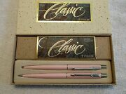 Parker Lady Classic Pink Tea Rose And Silver Trim Pen And Pencil Set Nib / Usa