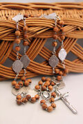 Stations Of The Cross Rosary, Olive Wood Beads And Medals, Handmade Catholic