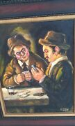 Vintage Oil Painting By Eglyn Of Two Men Playing Cards And Drinking. 14 X 18