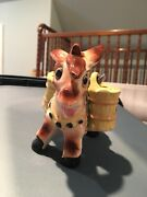 Antique Figurine - Ceramic Donkey With Bags/salt And Pepper Shakers Andnbsp3 Piecesandnbsp