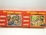 Jaymar Kiddies Mickey Mouse Jigsaw Puzzles Lot 2 Usa Circus Birthday Complete