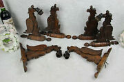 Set 6 Antique French Wood Carved Gothic Castle Dragon Chimaera Sconce Wall Light