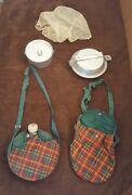 Girl Scout 1960and039s Vintage Mess Kit And Canteen W/ Pouch Bag Nice Lot Pot Lid