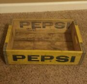 Vintage Wooden Pepsi Cola Soda Pop Bottles Cans Crate Case Tray Carrier Yellow