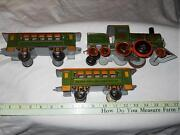 Tin Floor Toys Strauss N0. 46 Clockwork Locomotive And 2 Passenger Cars 1920and039s