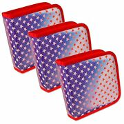 Setof3 Lenticular Cd Case Wallet Colorchangin Red Stars Blue Usa Cd24-r-012rs3