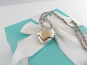 Rare Auth And Co Silver 18k Gold Heart Puzzle Necklace