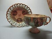 Royal Sealy Couple In Garden Cameo Ladies Reticulated Iridescent Cup And Saucer