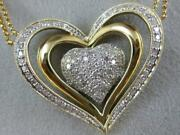 Modern Large Pave Diamond 14kt Wy Gold Heart Halo Double Chain Necklace N2052yp
