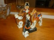 Set Of 4 Vintage Jointed Lithograph Wood Circus Toys. Collectable.
