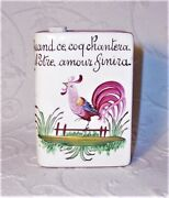 Ooak French Pottery Le Coq Rooster Porcelain Faience Book Tabatiandegravere Snuff Bottle