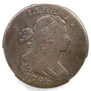 1796 S-116 R-5- Pcgs F Details Single Leaves Draped Bust Large Cent Coin 1c