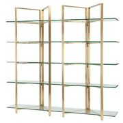 78 T Shelf Polished Gold Stainless Steel Five Clear Tempered Glass Shelves
