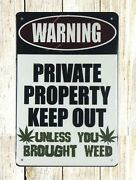 Warning Private Property Keep Out Tin Metal Sign Outside Wall Art