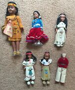 6 Vintage Native American Indian Dolls Leather And Beads