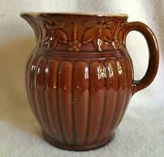 Stoneware Antique Red Brown Ribbed W/floral Design 7 3/4 Tall Glazed Pitcher