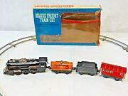 Vintage Battery Operated Complete 12 Pieces Deluxe Freight Train Set No. 166