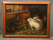 19th Century Animal Antique Genre Painting With Rabits Bunny And Dog