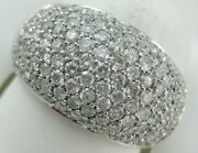 Modern Wide Pave Diamond 14k White Gold Puff Band Cocktail Ring 12.5mm Dr0035bww