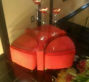 Vintage 60and039s-70and039s Modern/contemporary 5 Pc Glass Top Coffee Table W 3 Ottomans