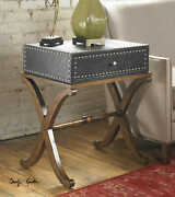29 T Set Of 2 Side Table Faux Leather Trunk Nail Trim Curved Hardwood Base