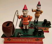 Vintage Trick Dog Mechanical Coin Bank Lot Of 2 Cast Iron Circus Clown Both Work