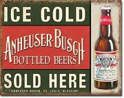 Anheuser Busch Bud Budweiser Bottled Ice Cold Beers Made Usa 16x12 Metal Sign