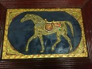 Antique Islamic Calligraphy Horse Painting Embossed Gold Work Persian Art
