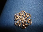 Vintage Collectible Unique 14kt Solid Yellow Gold Round Diamond Pin Brooch