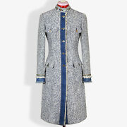 Dolce And Gabbana Womens Gray Coat With Stones And Denim Details Size S