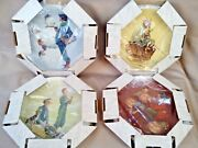 1976 Norman Rockwell Four Seasons Plates Limited Edition Gorham Set Of 4 Boxes