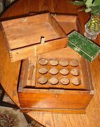 19th C Antique Apothecary Box Scales Oak Dove Tailed Holliday Texas Estate
