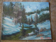 New Mexico Texas Mountains Snow Artist Arnold Vail Oil Painting Vatican 24 X 30