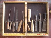Texas Antique Tools Ce Jennings New York Chisel Set 71 Finger Jointed Wood Box