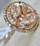 Modern Pave Diamond Morganite 14k Rose Gold Double Halo Oval Cocktail Ring R5050