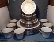 Vintage Lenox Windsong Dinnerware 33 Pieces White And Blue Flowers W/silver Trim