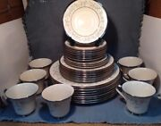 Vintage Lenox Windsong Dinnerware 33 Pieces, White And Blue Flowers W/silver Trim