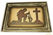 Praying Soldier Military Cross Army Marine Air Force Navy 13x7 1/4in New Rustic