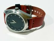 Vintage Fossil Custom Handmade Red Leather Analog Black Face Chinese Number
