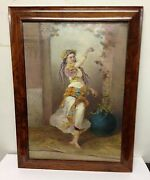 Painted Gypsy Woman Porcelain Plaque Artist Signed