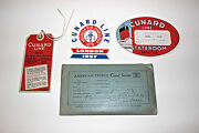 Cunard Line Labels Tag And American Express Travel Packet Vintage
