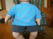 Handmade Bitty Baby Girl Gray Shorts/turquoise Tee W Gray Peace Signs 945