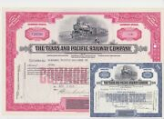 Pair Of Texas And Pacific Railway Company Common Stock Certificates