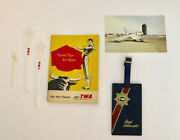 Trans World Airlines Twa Vintage Drink Stirs Spain Book Postcard Luggage Tag Lot