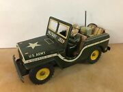 Rare 1950and039s Tin Litho Friction Toy Army Jeep - Military Jeep - World War 2 - Ww2