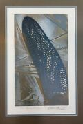 Papillon Ciel Bleu Original Signed Lithograph Le Numbered Blue Butterfly Wing Ar